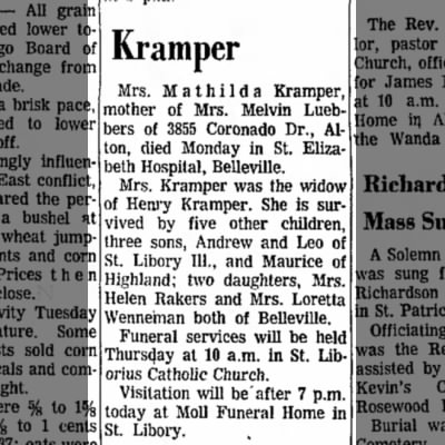 Mathilda Kramper Obituary