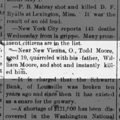 1891 Todd Moore murders his father, New Vienna, Ohio
