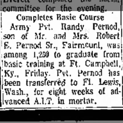 Randy Pernod complete Basic Training Anderson Herald 21 Jul 1968