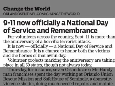 9-11 officially a National Day of Service and Remembrance