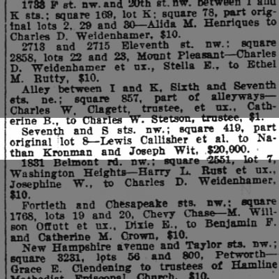 Nathan Kronman purchase of 7th and S with Joseph Wit for $20,000.  Wash Post 5/23/1920