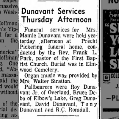 Mamie (Stevens) Dunavant newspaper notice of burial
