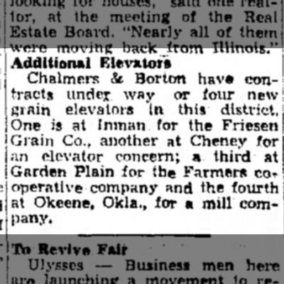 Inman, Cheney, Garden Plain, C&B