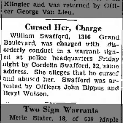 Swafford Curse her Charge 23 Aug 1930