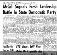 Mcgill signals fresh leadership battle in State Democratic party.Jan. 1964
