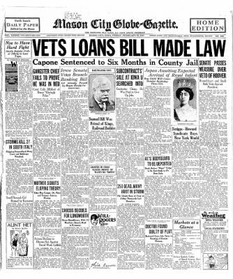 The Mason City Globe-Gazette from Mason City, Iowa on February 27, 1931 · Page 1