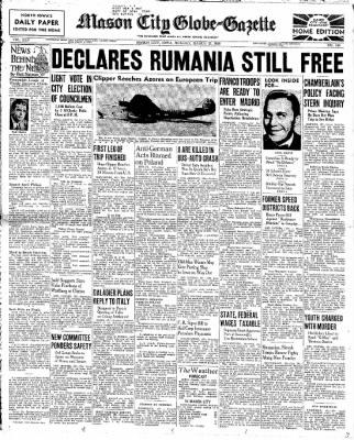 The Mason City Globe-Gazette from Mason City, Iowa on March 27, 1939 · Page 1