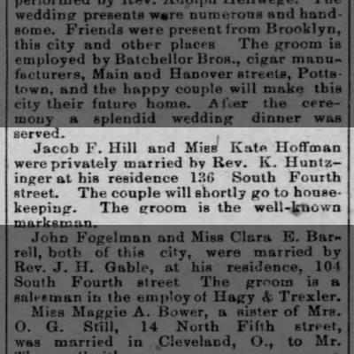 Jacob F Hill and Kate Kaufman married