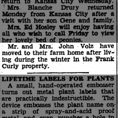 John C. Volz family wintered in the Frank Curly property.