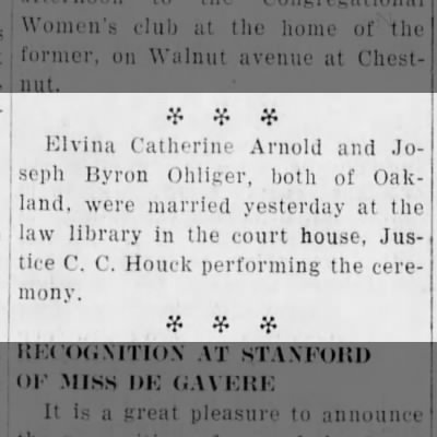 Joseph B. Ohliger marries Elvina Arnold