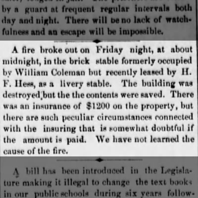 2-9-1877  William Coleman & H.F.Hess   Fire in stable
