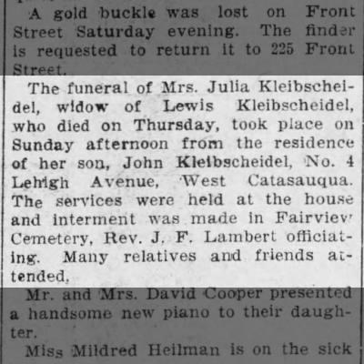 Kleibscheidel, Julia (funeral)