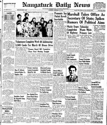 Naugatuck Daily News from Naugatuck, Connecticut on January 21, 1947 · Page 1
