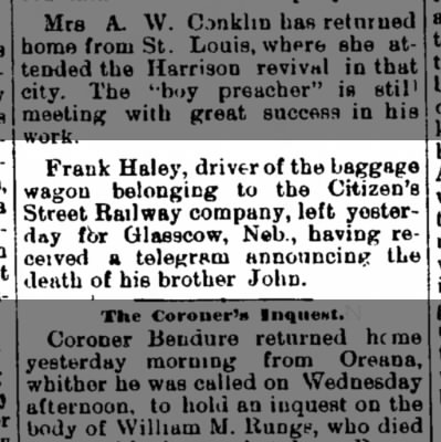 Frank Haley leaves for Glasscow Nebraska 22 Feb 1884