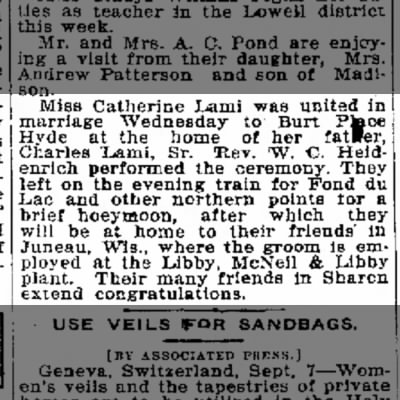 Marriage Catherine Lami and Burt Place Hyde Janesville Daily Gazette Sept 7, 1917