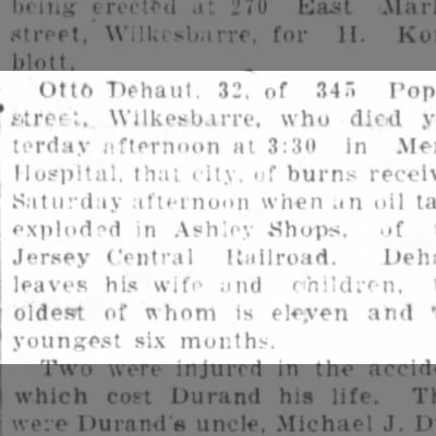 Pittston Gazette...28 Mar 1927 Article on accident that killed Otto Dehaut